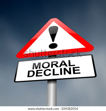 Illustration depicting a road traffic sign with a moral decline concept. White background.