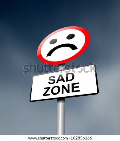 Illustration depicting a road traffic sign with a sadness concept. Dark sky background. - stock photo