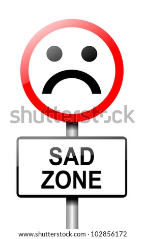 Illustration depicting a road traffic sign with a sadness concept. White background. - stock photo