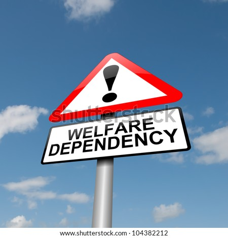 Illustration depicting a road traffic sign with a Welfare dependence concept. Blue sky  background.