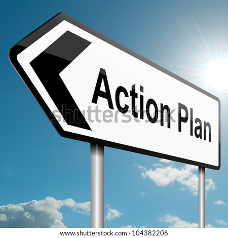 Illustration depicting a road traffic sign with an action plan concept. Blue sky background.