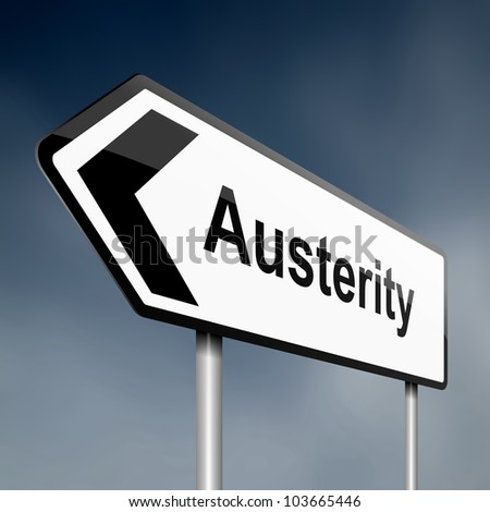 Illustration depicting a road traffic sign with an austerity concept. Blue sky background. - stock photo