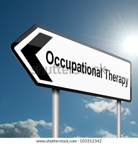 Illustration depicting a road traffic sign with an occupational therapy concept. Blue sky background. - stock photo