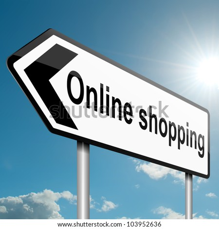 Illustration depicting a road traffic sign with an online shopping concept. White background. - stock photo