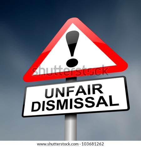 Illustration depicting a road traffic sign with an unfair dismissal cost concept. Dark background.