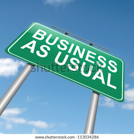 Illustration depicting a roadsign with a business as usual concept. Sky background.