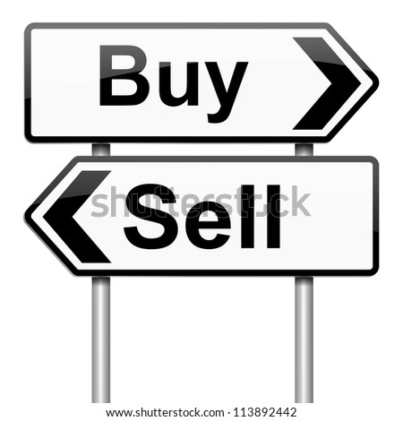 Illustration depicting a roadsign with a buy or sell concept. White background. - stock photo