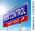 Illustration depicting a roadsign with a control concept. Sky  background. - stock photo