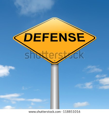 Illustration depicting a roadsign with a defense concept. Sky background.