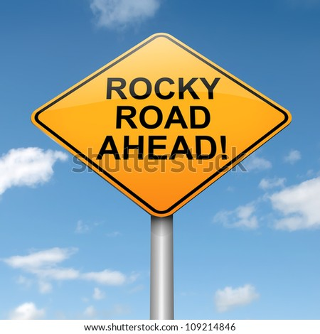 Illustration depicting a roadsign with a difficulty concept. Blue sky background. - stock photo