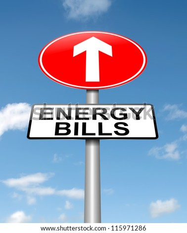 Illustration depicting a roadsign with a energy bill increase concept. Sky background. - stock photo