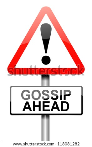 Illustration depicting a roadsign with a gossip concept. White background.