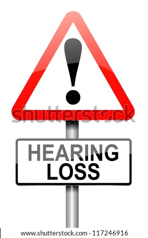 Illustration depicting a roadsign with a hearing loss concept. White background.