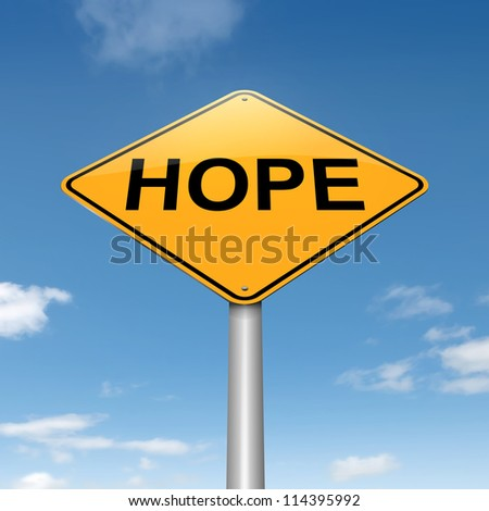 Illustration depicting a roadsign with a hope concept. Sky background. - stock photo