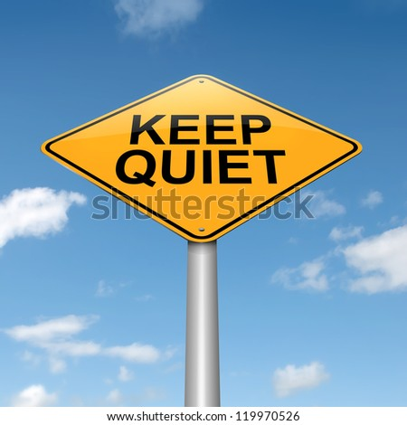 Illustration depicting a roadsign with a keep quiet concept. Sky background. - stock photo