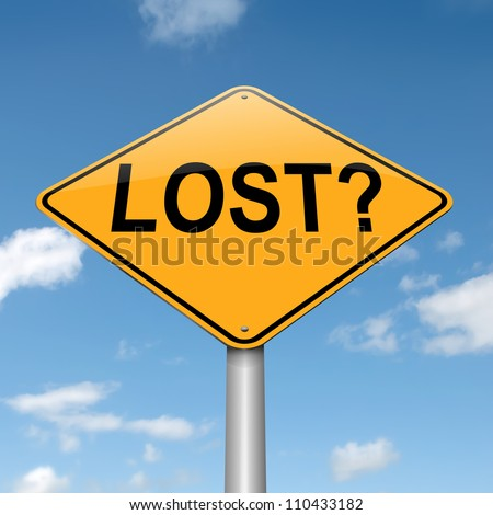 Illustration depicting a roadsign with a lost concept. Blue sky background. - stock photo