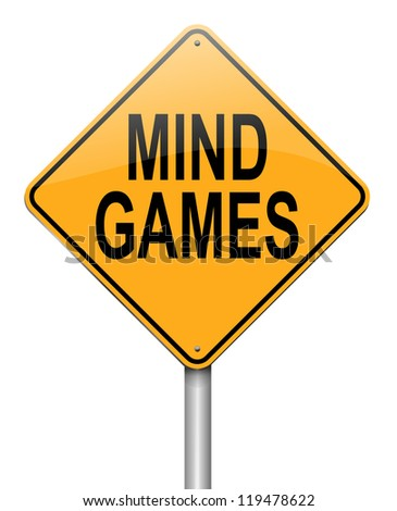 Illustration depicting a roadsign with a mind games concept. White background.