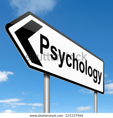 Illustration depicting a roadsign with a psychology concept. Sky background.