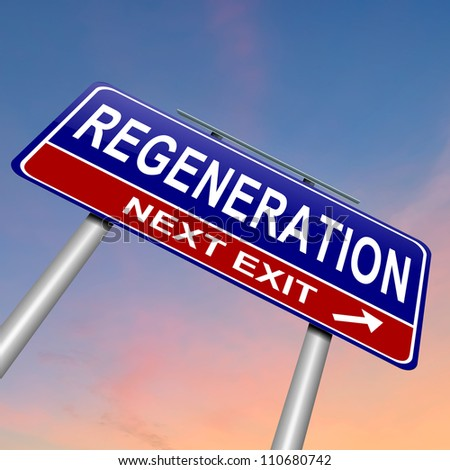 Illustration depicting a roadsign with a regeneration concept. Sunset sky background. - stock photo