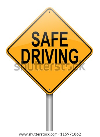 Illustration depicting a roadsign with a safe driving concept. White background. - stock photo