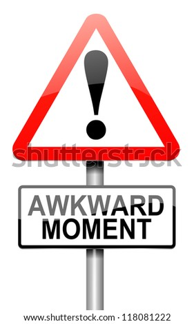 Illustration depicting a roadsign with an awkward moment concept. White background.