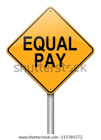 Illustration depicting a roadsign with an equal pay concept. White background.