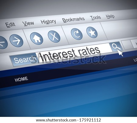 Illustration depicting a screenshot of an internet search with an Interest rates concept. - stock photo