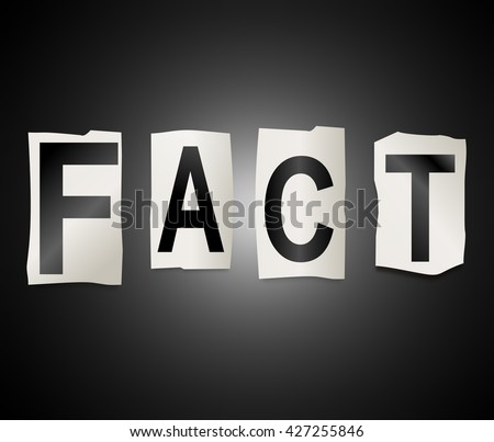 Illustration depicting a set of cut out printed letters arranged to form the word fact. - stock photo