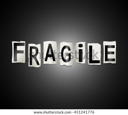 Illustration depicting a set of cut out printed letters arranged to form the word fragile. - stock photo