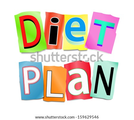 Illustration depicting a set of cut out printed letters formed to arrange the word diet plan.