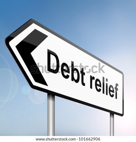 illustration depicting a sign post with directional arrow containing a debt relief concept. Blurred background. - stock photo