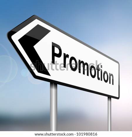 illustration depicting a sign post with directional arrow containing a job promotion concept. Blurred background. - stock photo