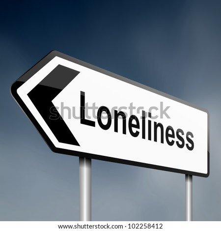 illustration depicting a sign post with directional arrow containing a loneliness concept. Blurred background. - stock photo