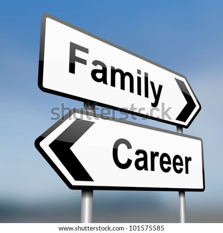 illustration depicting a sign post with directional arrows containing a career or family concept. Blurred background.