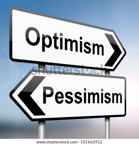 illustration depicting a sign post with directional arrows containing a pessimist or optimist concept. Blurred background. - stock photo