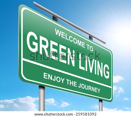 Illustration depicting a sign with a green living concept. - stock photo