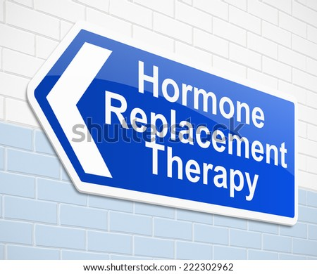 Illustration depicting a sign with a hormone replacement therapy concept. - stock photo