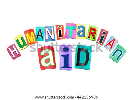 Illustration depicting a sign with a humanitarian aid concept. - stock photo