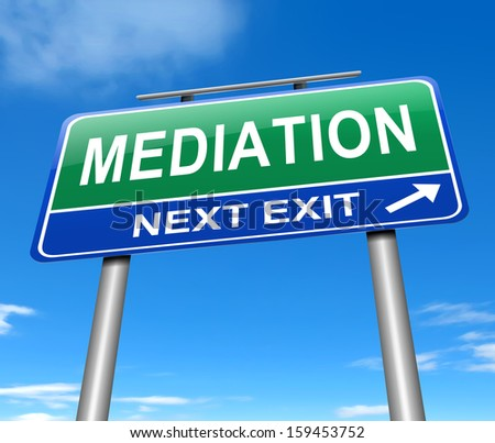 Illustration depicting a sign with a mediation concept. - stock photo