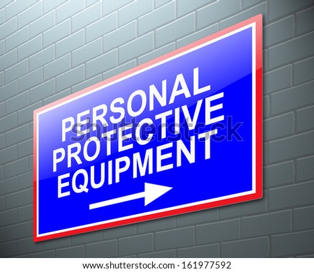Illustration depicting a sign with a personal protective equipment concept. - stock photo