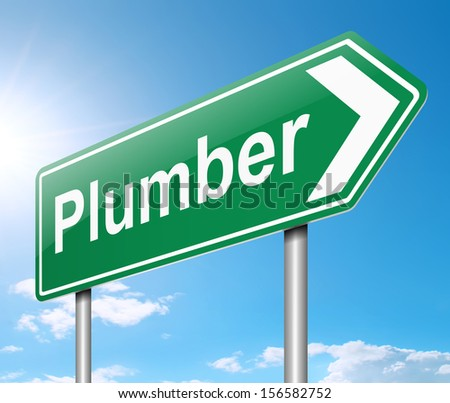 Illustration depicting a sign with a Plumber concept.