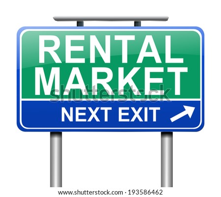 Illustration depicting a sign with a rental market concept. - stock photo