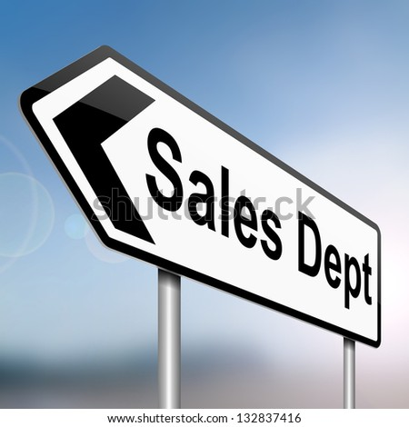 Illustration depicting a sign with a sales dept concept.