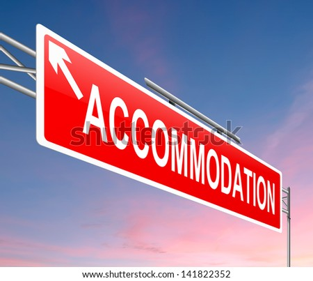 Illustration depicting a sign with an accommodation concept. - stock photo