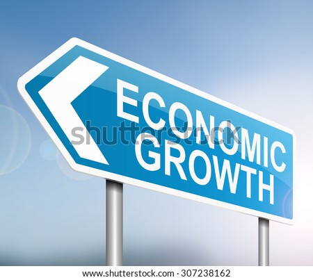 Illustration depicting a sign with an economic growth concept. - stock photo