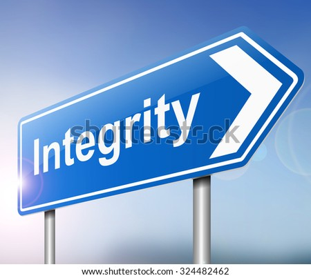 Illustration depicting a sign with an integrity concept.