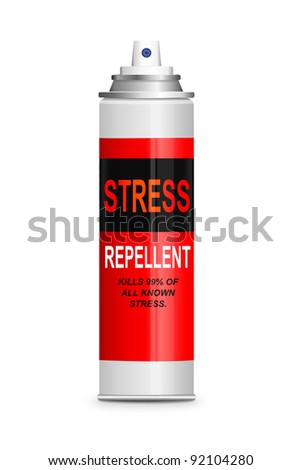 Illustration depicting a single aerosol spray can with the words 'stress repellent'. White background. - stock photo