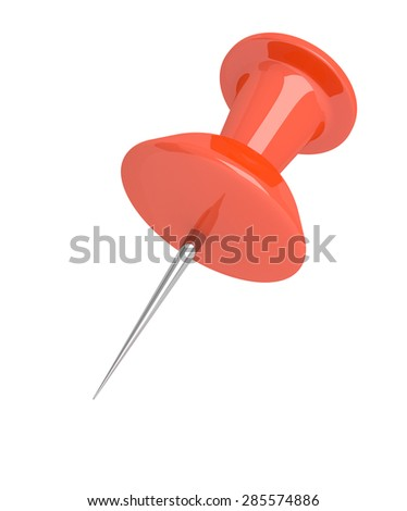 Illustration depicting a single red push pin over white. - stock photo