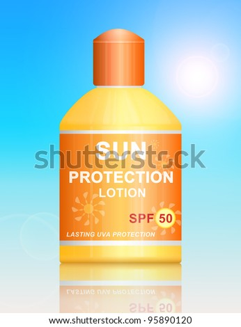Illustration depicting a single uva SPF 50 sun protection lotion bottle arranged over vibrant blue light effect background. - stock photo