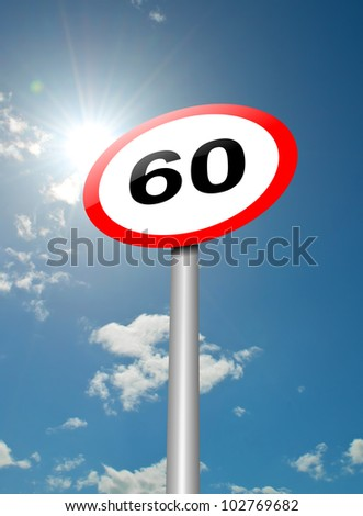Illustration depicting a speed limit road sign against blue sky and sunlight background.
